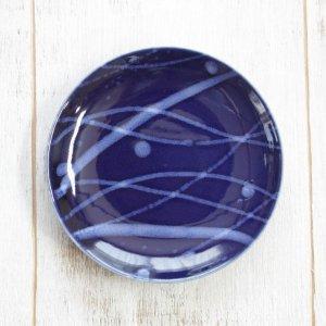 夜空/沖縄の海と流れ星のプレート4寸皿(小サイズ)藍色