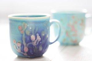沖縄の珊瑚カップ2ケセット|藍色×ターコイズ色/ペア/ダッタ通販