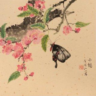 月刊『聴く中国語』2019年4月号表紙絵「花香春月」