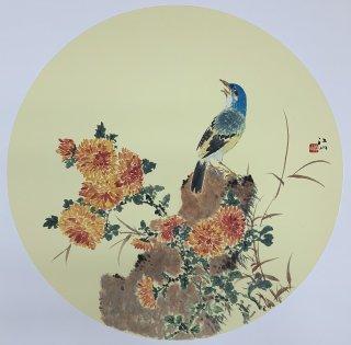 月刊『聴く中国語』2019年6月号表紙絵「晨露鳴禽図」