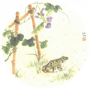 月刊『聴く中国語』2019年7月号表紙絵「篱下蛙声」