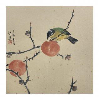 月刊『聴く中国語』2019年11月号表紙絵「九月紅」