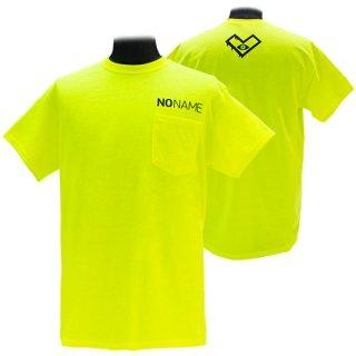 XE2019 NO NAME ポケットTシャツ バックプリント(蛍光イエロー)ギルダン<br>【N/N】