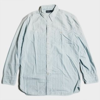 LINEN STRIPE WORK SHIRTS (M)