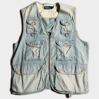 VINTAGE DENIM FISHING VEST(L)
