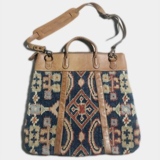 V. KILIM&LEATHER SHOULDER BAG
