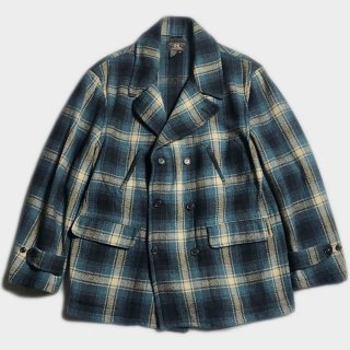 CHECK WOOL DOUBLE B. COAT(XL)