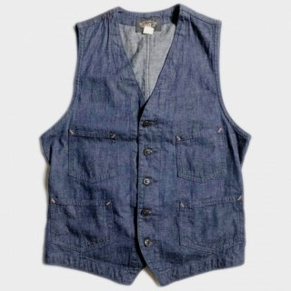 LINEN/DENIM WORK VEST(USA-S)
