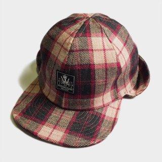 WOOL CHECK EAR FLAP CAP
