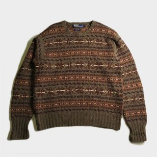 NORDIC HAND KNIT CREW NECK SWEATER