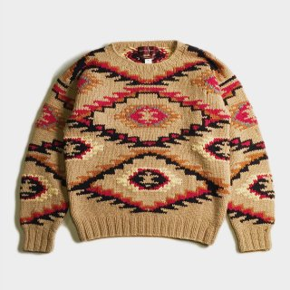 NATIVE HAND KNIT CREW NECK SWEATER