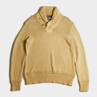 COTTON/LINEN SHOWL COLLAR SWEATER