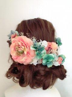 サーモンピンクとターコイズグリーンのヘッドドレスセット