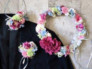 【オーダーメイド商品】ドレスに合わせた花冠&リストレット&ブートニア