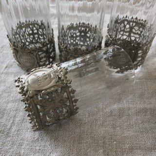 フランスアンティーク 細工の美しいグラス