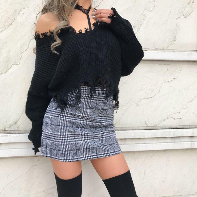 グレンチェックタイトスカート