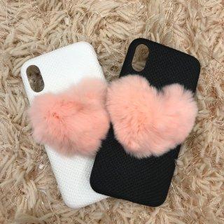 ハートモチーフファーiPhoneケース