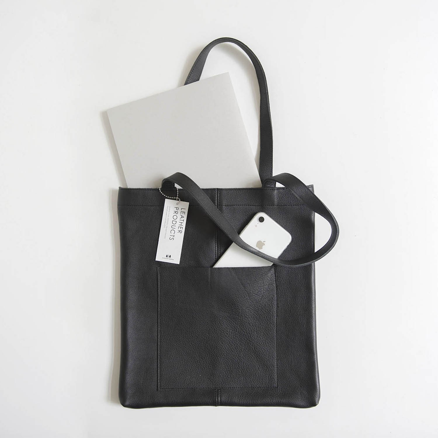 Leather bag shoulder Black