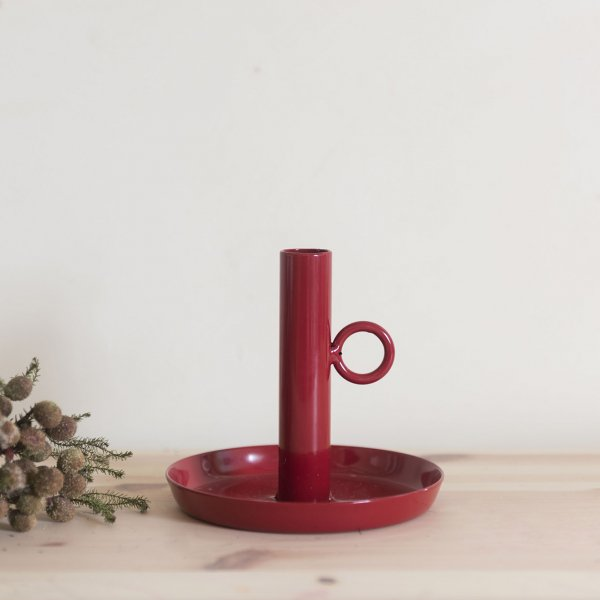 Iron Candle Holder RED