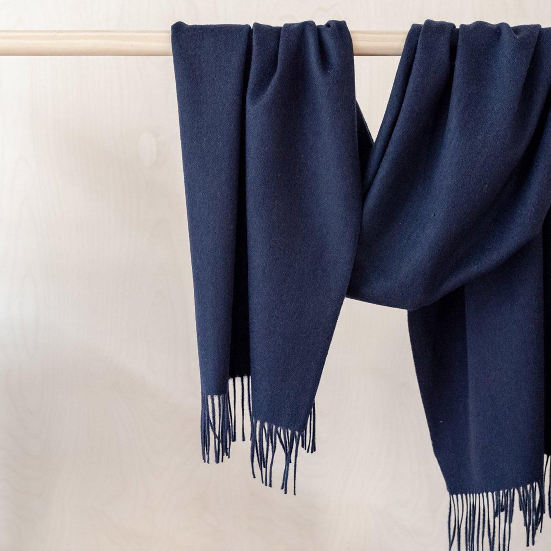 ラムズウール オーバーサイズスカーフ<br> Navy