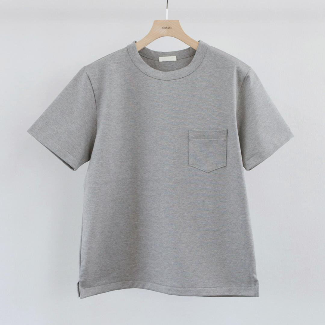 niuhans ニュアンス<br />Heavyweight Cotton Pocket Tee (GREY)