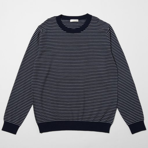 niuhans ニュアンス<br />Pinstripe Crew Neck Sweater