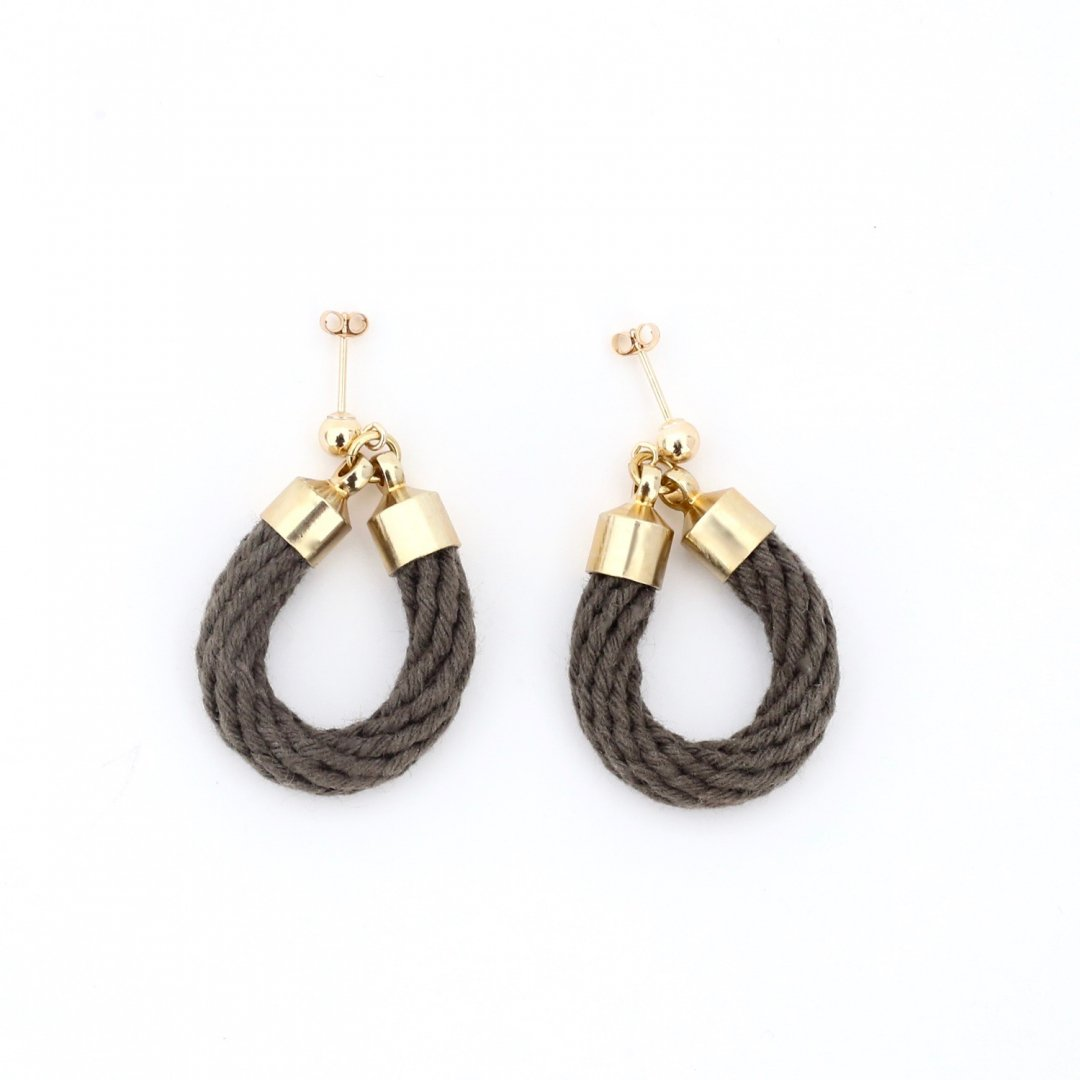 F&F <br />DYE ROPE ROUND mini・GRAY<br /> [ピアス・イヤリング]