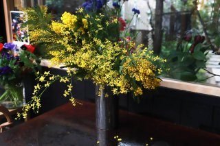<img class='new_mark_img1' src='//img.shop-pro.jp/img/new/icons6.gif' style='border:none;display:inline;margin:0px;padding:0px;width:auto;' />mimosa & Oncidium mix bouquet 花言葉:優雅・可憐