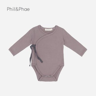 Phil&Phae | Cross-over body l/s | heather |  3-6m