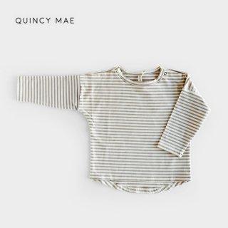 Quincy Mae | Longsleeve Baby Tee | fog stripe (6-12m)-(12-18m)