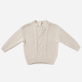Quincy Mae | Cable Knit Sweater | Pebble (6-12m)-(18-24m)