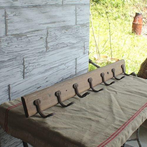 【仏アンティーク】7連の壁掛けの木製ハンガーラック