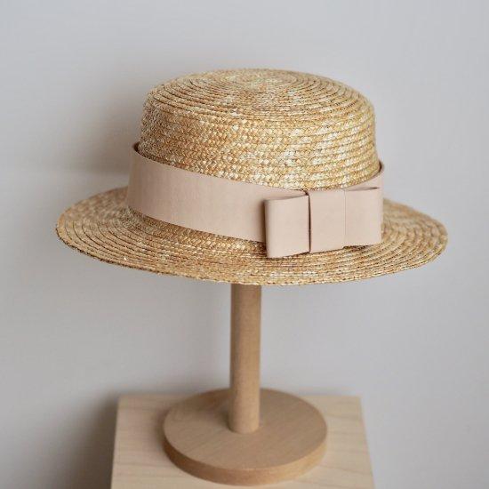 レザーリボンの麦わら帽子 【 54cm 】