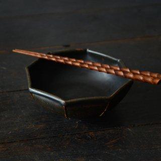 光藤佐 黒釉八角鉢5.5寸鉢