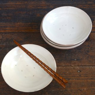 荒賀文成 粉引5寸リム皿