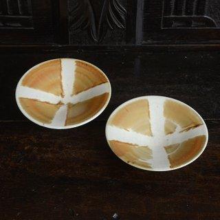 金澤尚宜 三彩5寸円すい皿(赤茶)