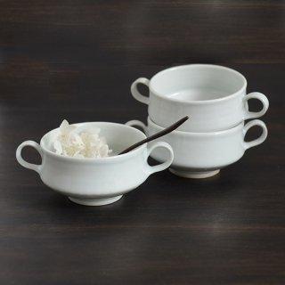 土井善男 乳白スープカップ 両耳付