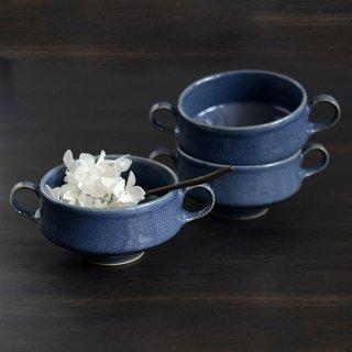 土井善男 紺青スープカップ 両耳付