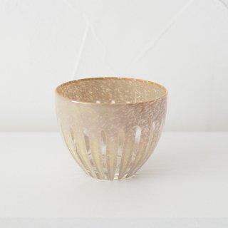 花岡央 ren 冷茶グラス ベージュ 径8.5cm 高さ6.5cm