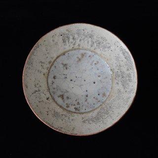 片瀬和宏 5寸皿 白×白×サーモンピンク+水色 径16cm 高さ4cm