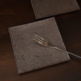 井内素 正方板皿 黒 14cm×14cm 高さ1.5cm