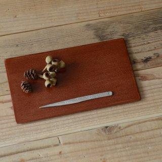 土田和茂 板皿4寸×7寸 弁柄