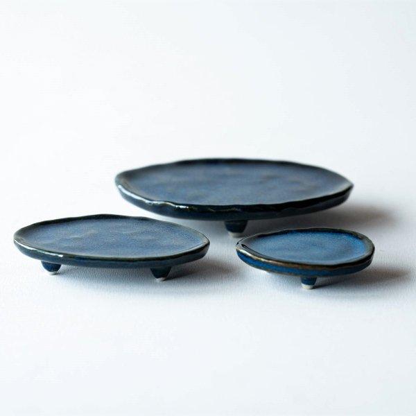 三足皿|藍