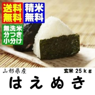 30年産 山形県産はえぬき 玄米25kg 精米・送料無料