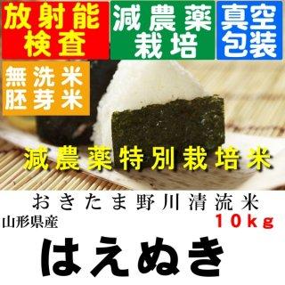 令和1年産 野川清流米 特別栽培米山形県産はえぬき 玄米10kg 精米・送料無料