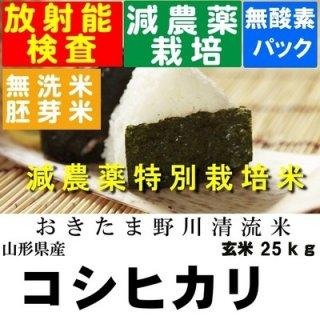 令和2年産 野川清流米特別栽培米 山形県産コシヒカリ 玄米25kg 精米・送料無料
