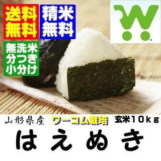 30年産 山辺アグリFFワーコム栽培米 山形県産はえぬき 玄米10kg 精米・送料無料