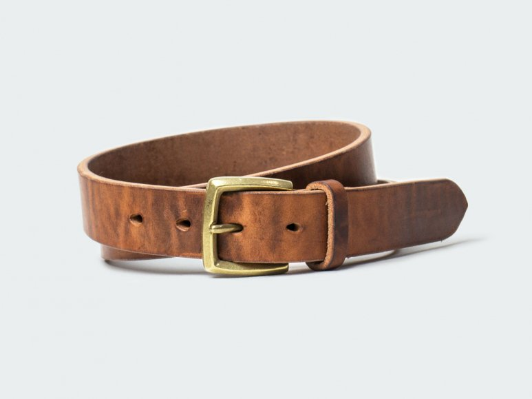 SOLID BELT AMERICAN STEER HYDE 32 / BROWN