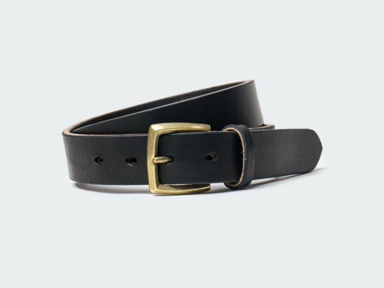 SOLID BELT AMERICAN STEER HYDE 32 / BLACK