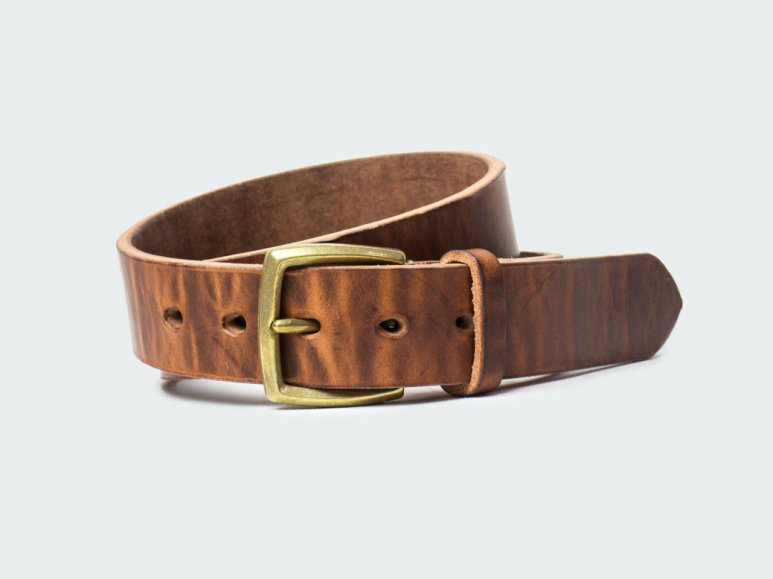 SOLID BELT AMERICAN STEER HYDE 38 / BROWN